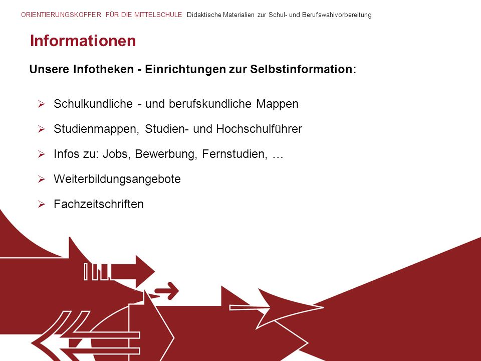Informationen Schulkundliche - und berufskundliche Mappen