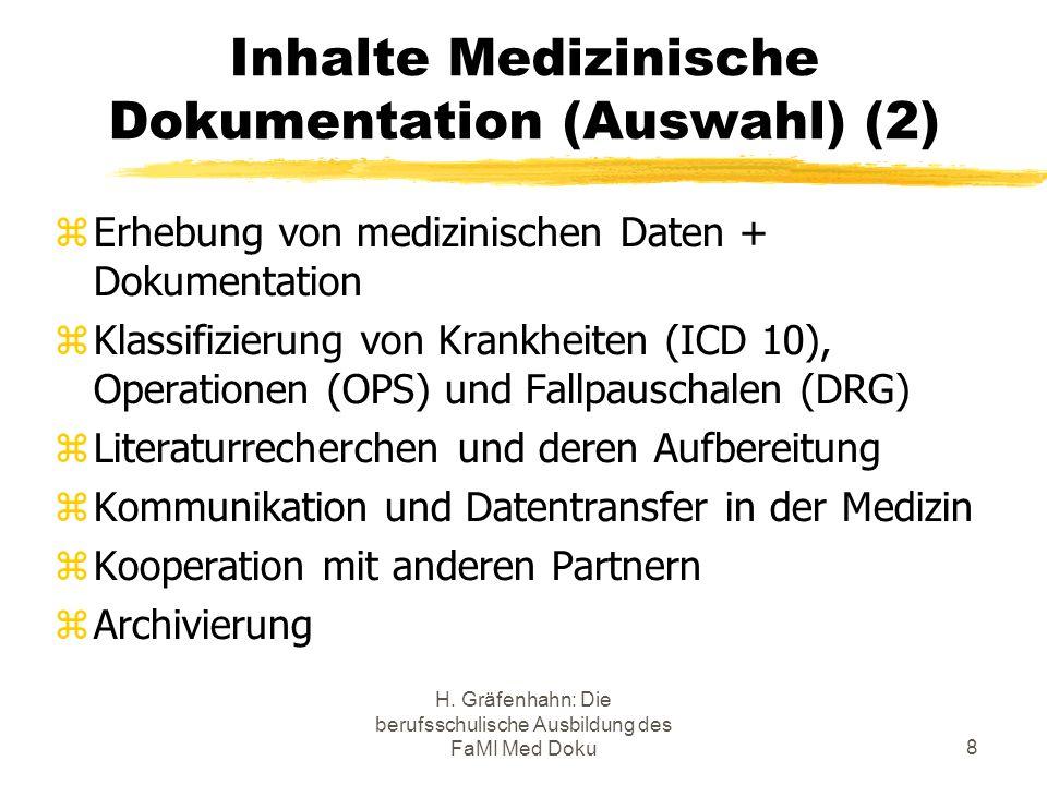 Inhalte Medizinische Dokumentation (Auswahl) (2)