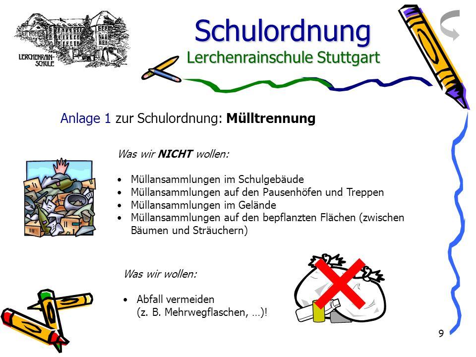 Anlage 1 zur Schulordnung: Mülltrennung