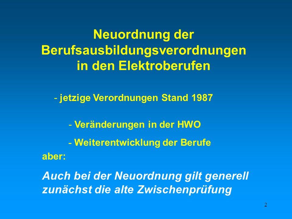 Neuordnung der Berufsausbildungsverordnungen in den Elektroberufen