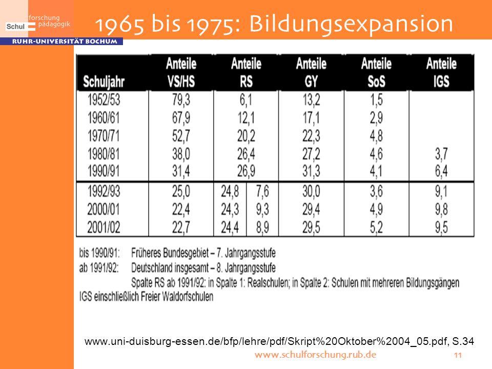 1965 bis 1975: Bildungsexpansion