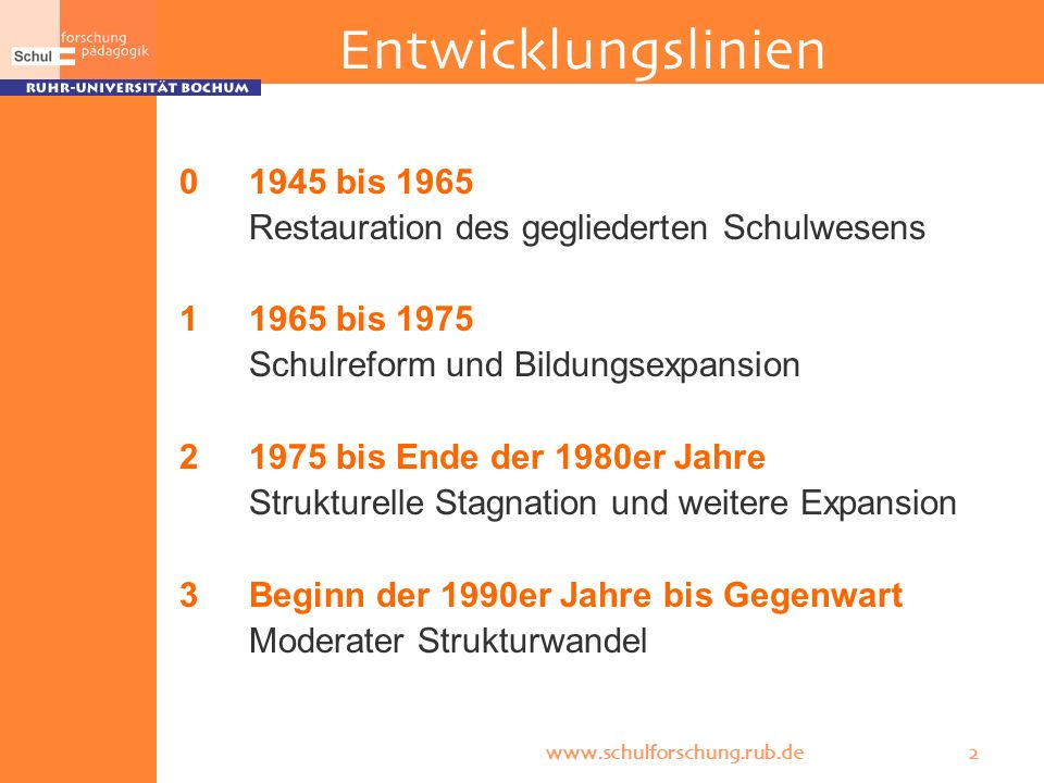 Entwicklungslinien 0 1945 bis 1965