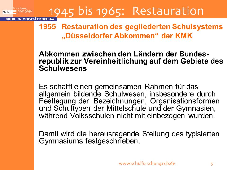 1945 bis 1965: Restauration Restauration des gegliederten Schulsystems