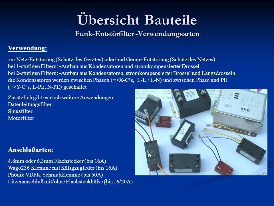 Übersicht Bauteile Funk-Entstörfilter -Verwendungsarten