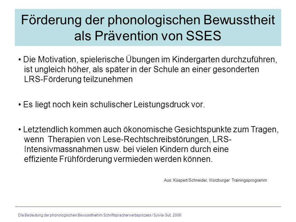 Förderung der phonologischen Bewusstheit als Prävention von SSES