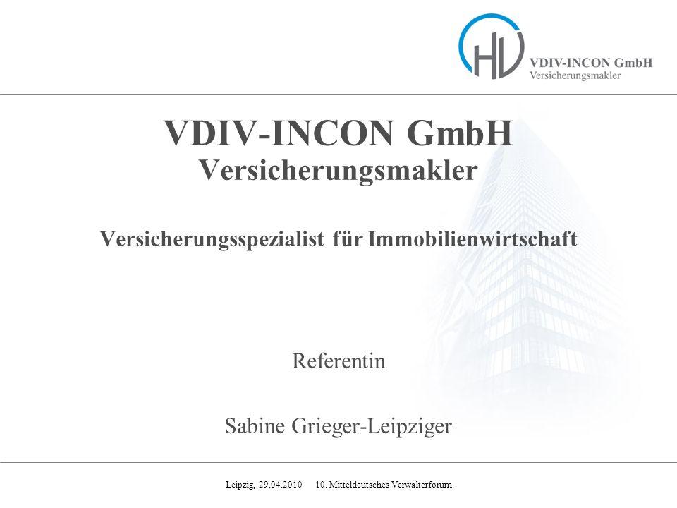 VDIV-INCON GmbH Versicherungsmakler Versicherungsspezialist für Immobilienwirtschaft Referentin Sabine Grieger-Leipziger
