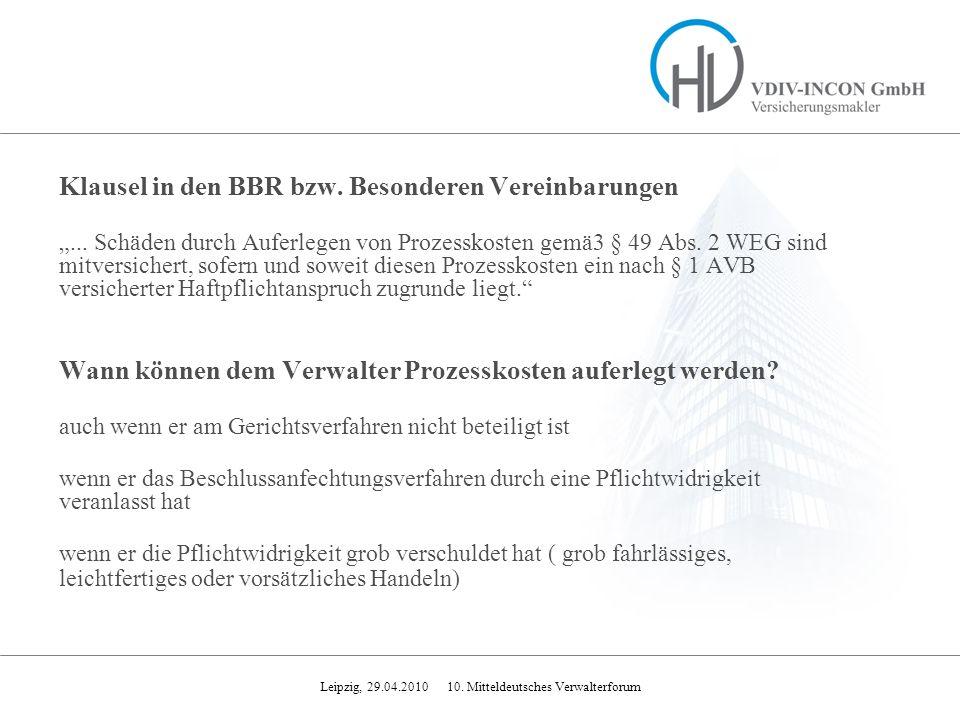 Klausel in den BBR bzw. Besonderen Vereinbarungen