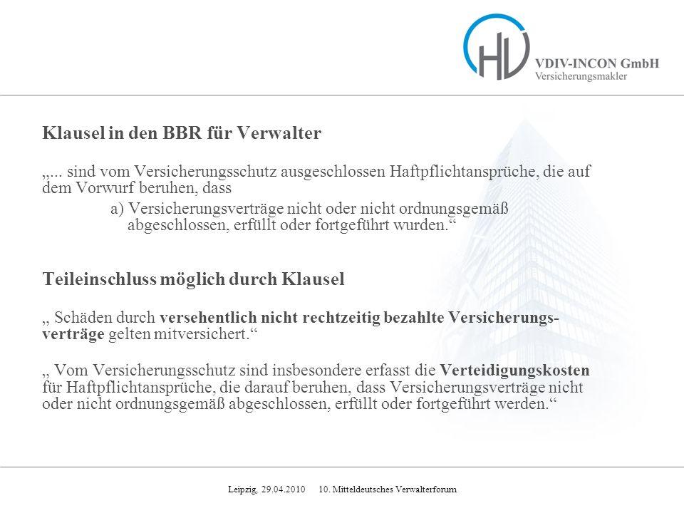 Klausel in den BBR für Verwalter