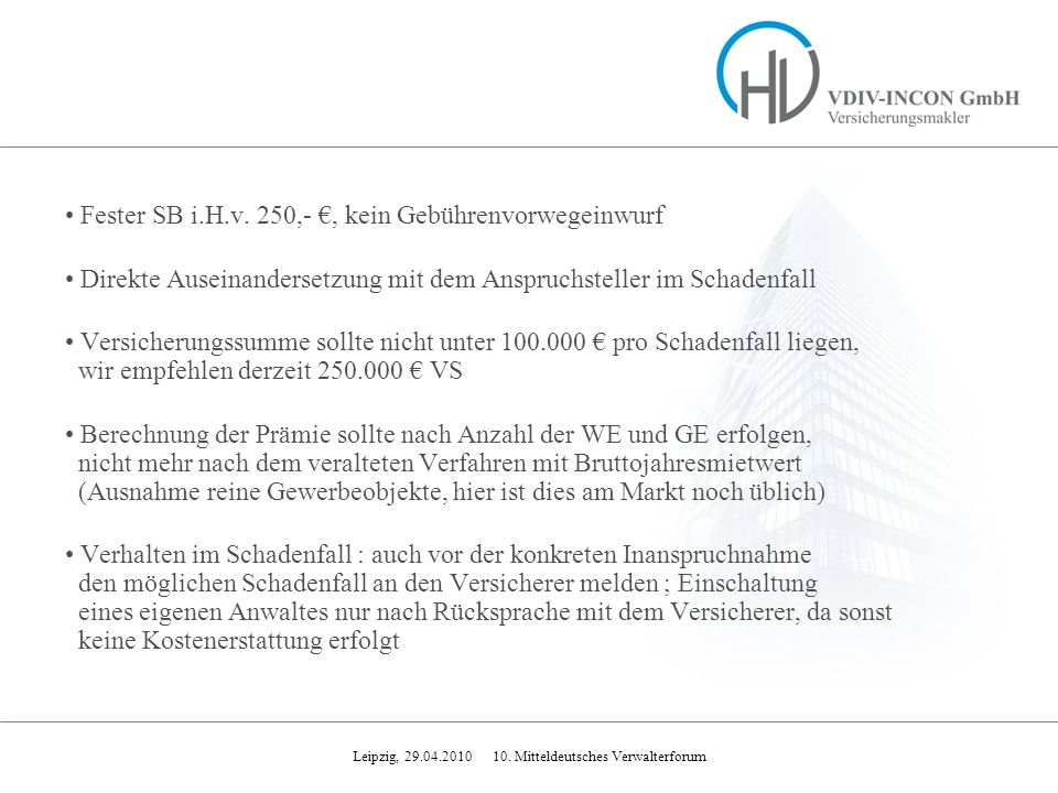Fester SB i.H.v. 250,- €, kein Gebührenvorwegeinwurf