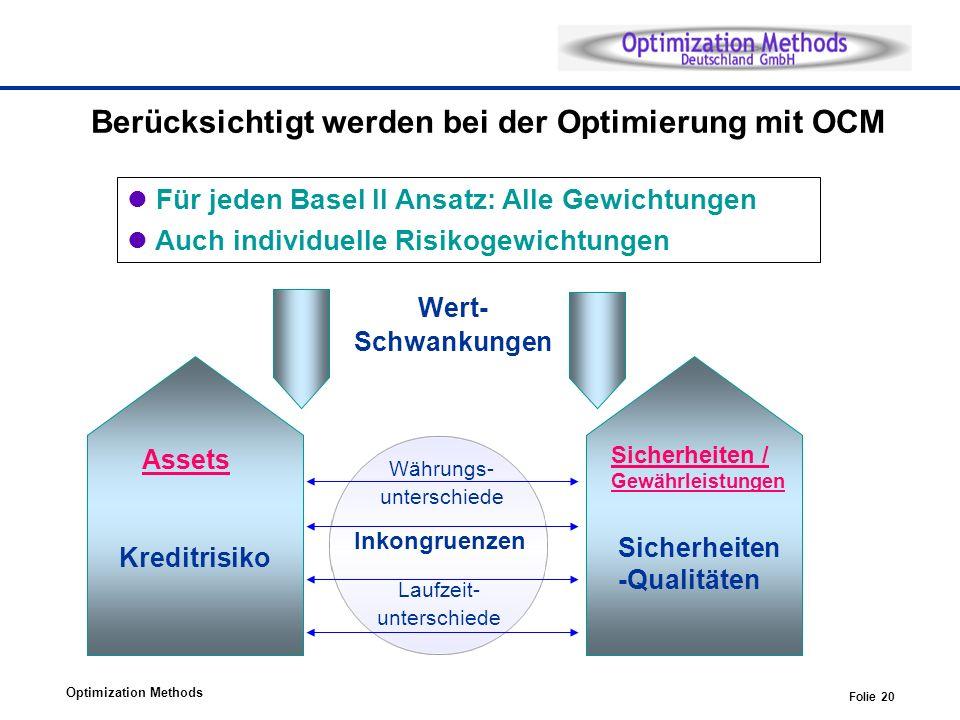 Berücksichtigt werden bei der Optimierung mit OCM