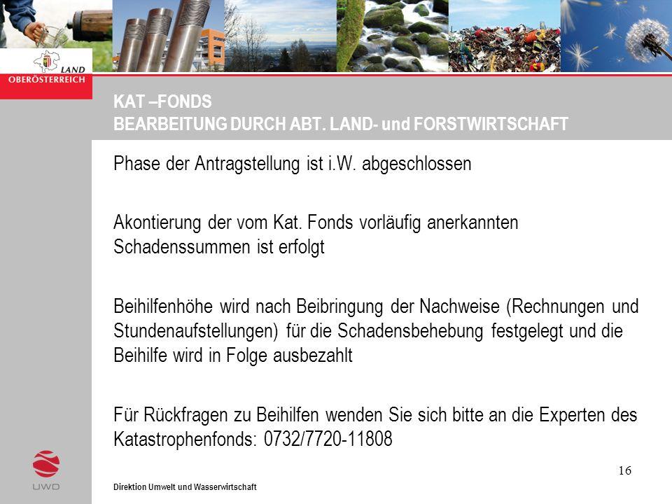 KAT –FONDS BEARBEITUNG DURCH ABT. LAND- und FORSTWIRTSCHAFT