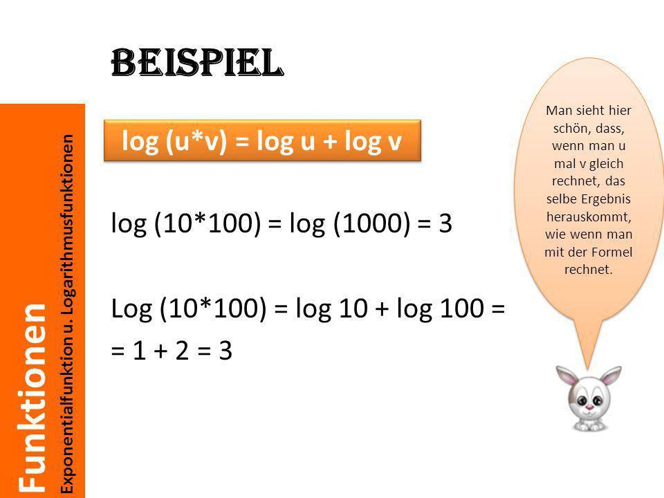 Beispiel log (u*v) = log u + log v