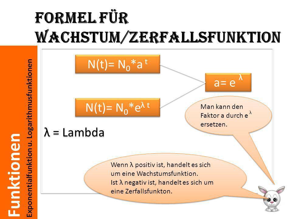 Formel für Wachstum/Zerfallsfunktion