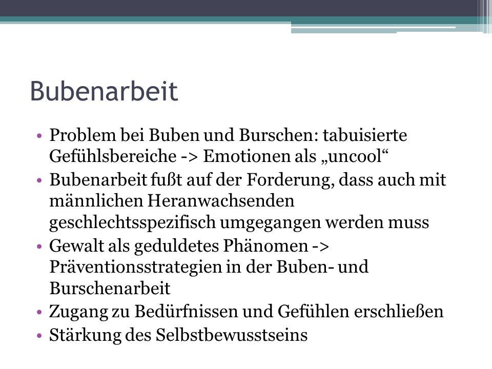 """Bubenarbeit Problem bei Buben und Burschen: tabuisierte Gefühlsbereiche -> Emotionen als """"uncool"""