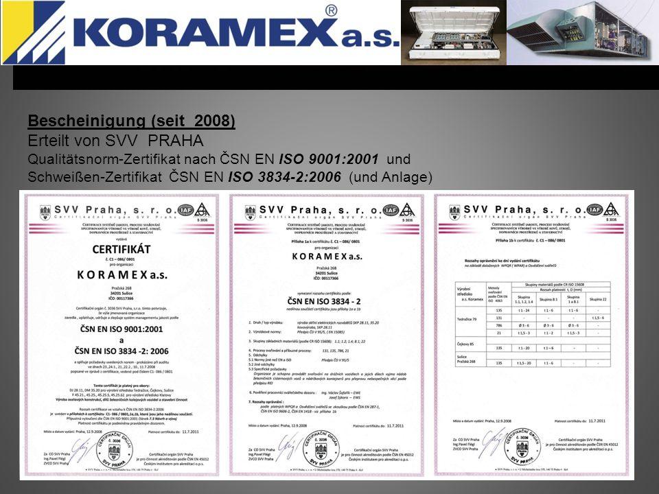 Bescheinigung (seit 2008) Erteilt von SVV PRAHA