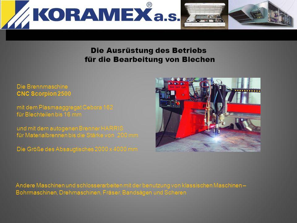 Die Ausrüstung des Betriebs für die Bearbeitung von Blechen