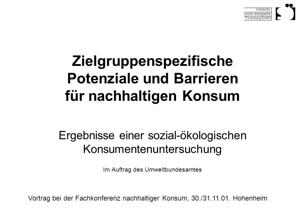 Zielgruppenspezifische Potenziale und Barrieren für nachhaltigen Konsum