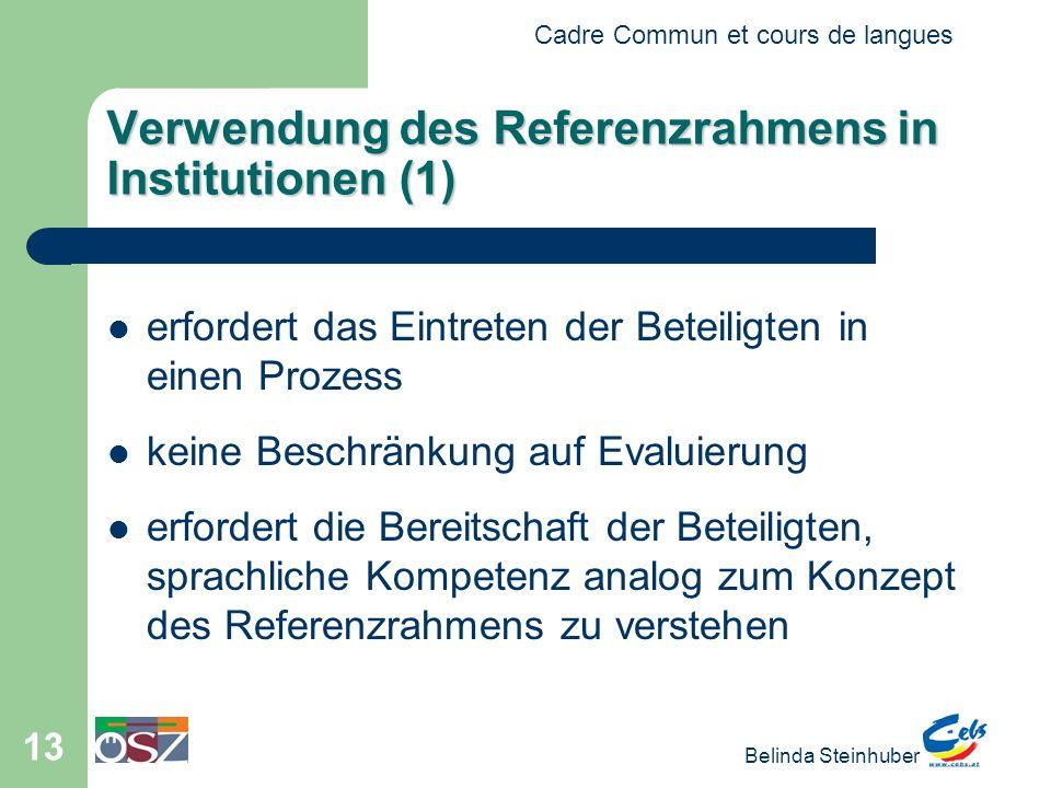 Verwendung des Referenzrahmens in Institutionen (1)
