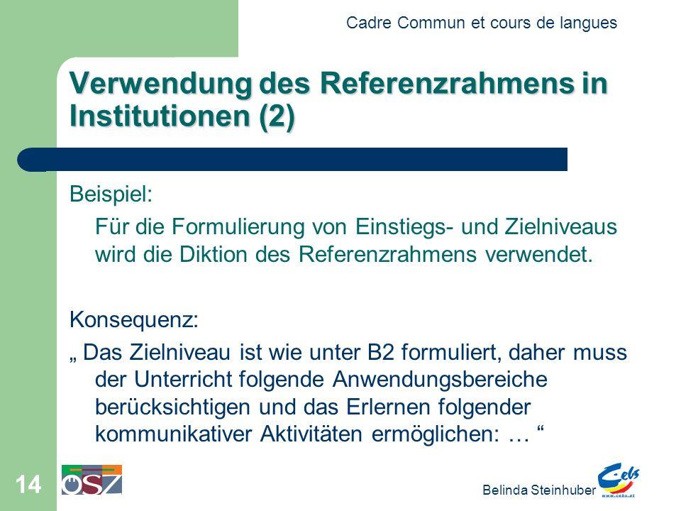 Verwendung des Referenzrahmens in Institutionen (2)
