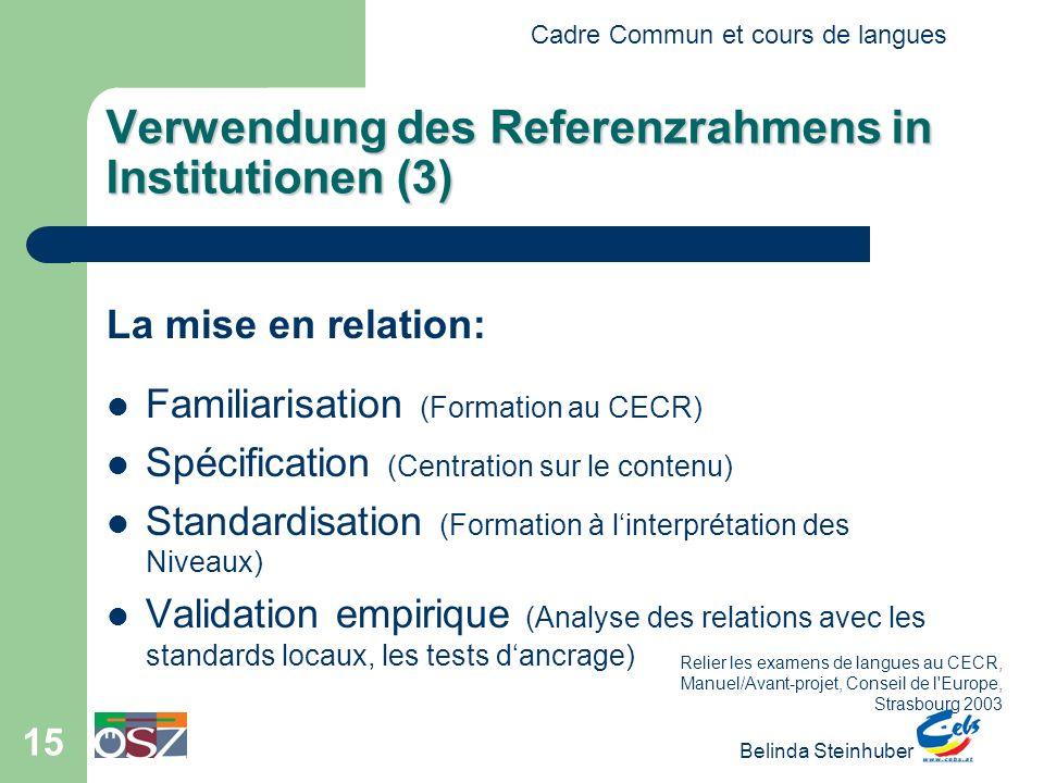 Verwendung des Referenzrahmens in Institutionen (3)