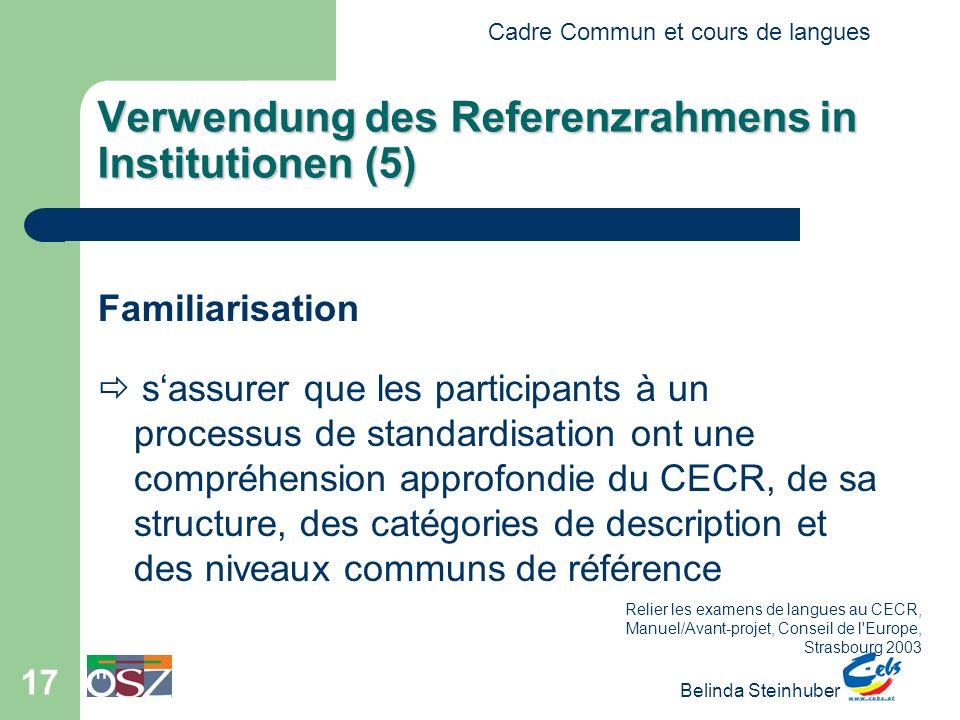 Verwendung des Referenzrahmens in Institutionen (5)