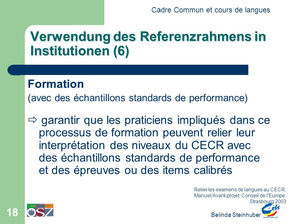 Verwendung des Referenzrahmens in Institutionen (6)