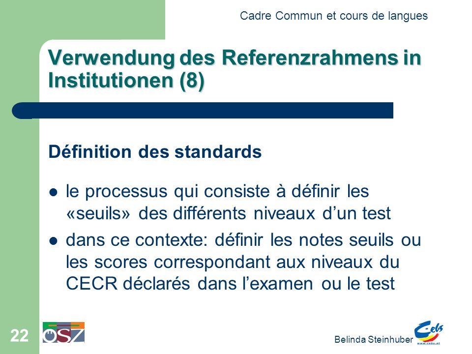 Verwendung des Referenzrahmens in Institutionen (8)