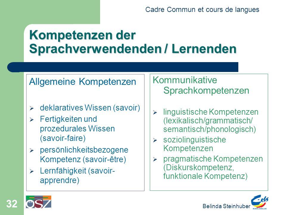 Kompetenzen der Sprachverwendenden / Lernenden