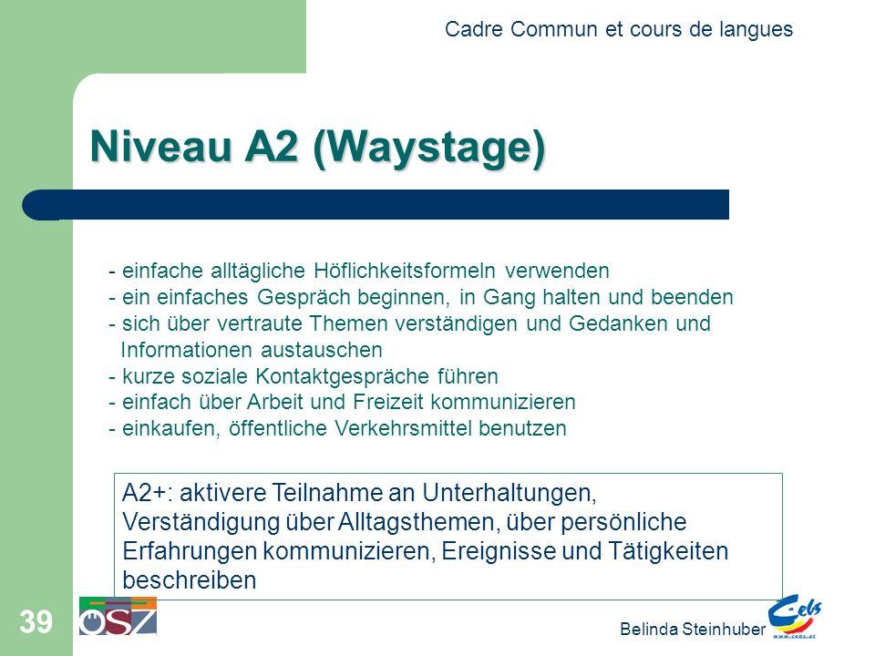 Niveau A2 (Waystage) A2+: aktivere Teilnahme an Unterhaltungen,