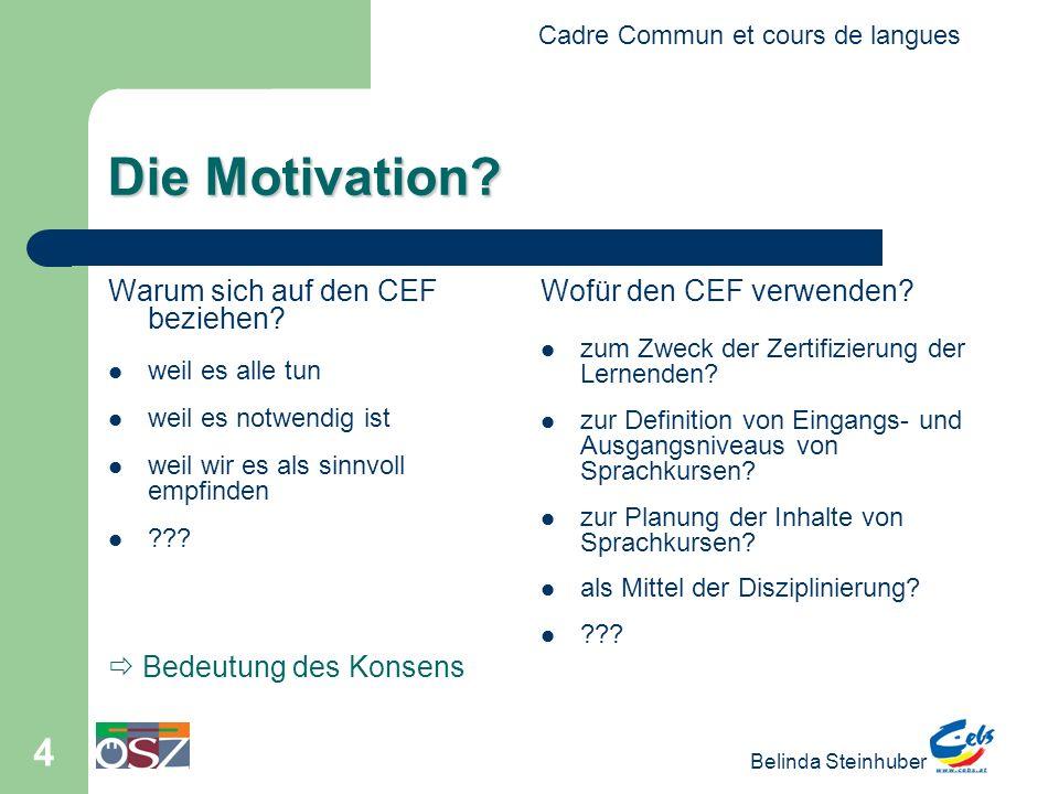 Die Motivation Warum sich auf den CEF beziehen