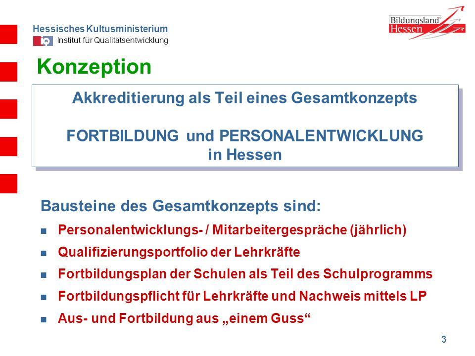 KonzeptionAkkreditierung als Teil eines Gesamtkonzepts FORTBILDUNG und PERSONALENTWICKLUNG in Hessen.
