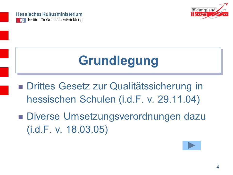 GrundlegungDrittes Gesetz zur Qualitätssicherung in hessischen Schulen (i.d.F. v. 29.11.04)