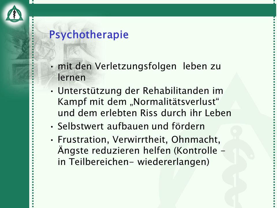 Psychotherapie mit den Verletzungsfolgen leben zu lernen