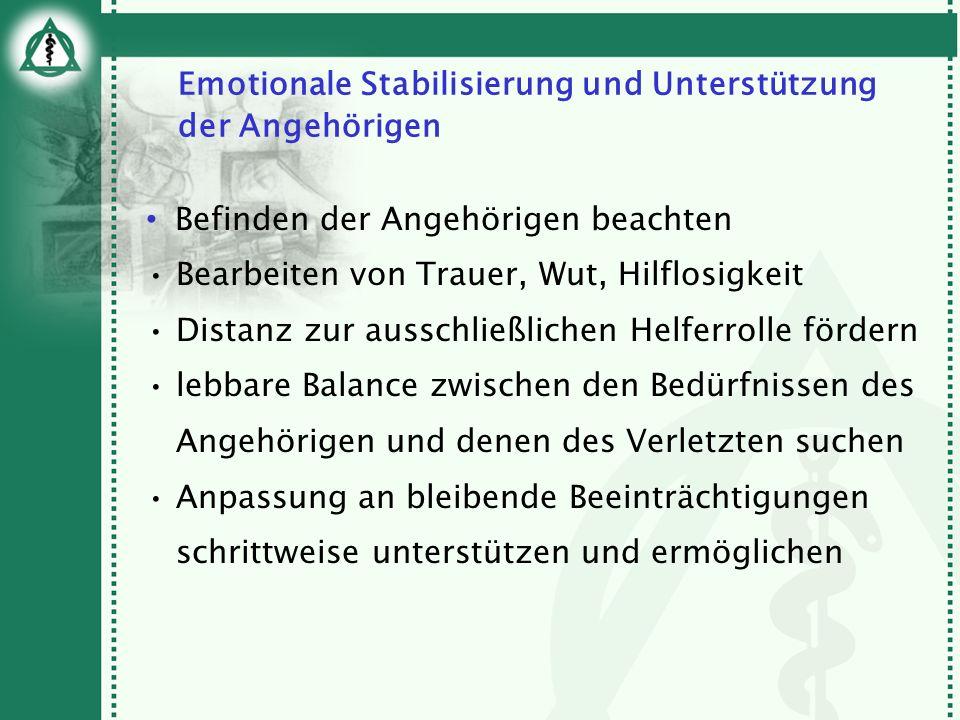 Emotionale Stabilisierung und Unterstützung der Angehörigen