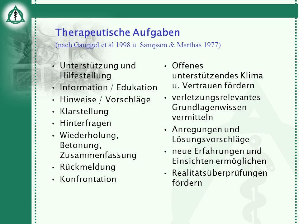 Therapeutische Aufgaben (nach Gauggel et al 1998 u