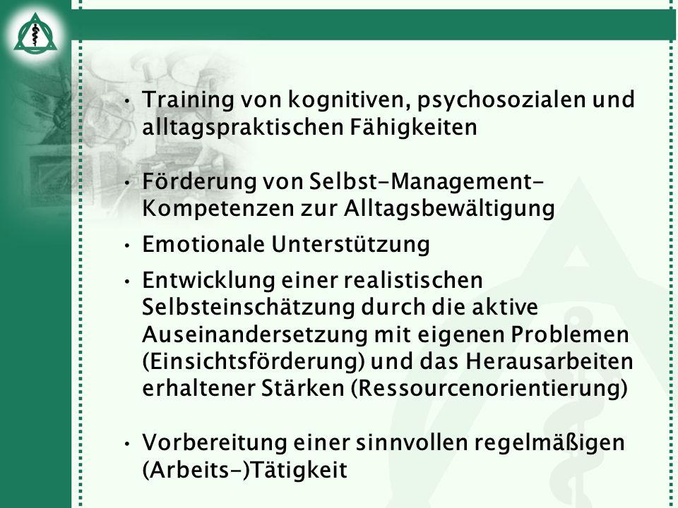 Training von kognitiven, psychosozialen und alltagspraktischen Fähigkeiten