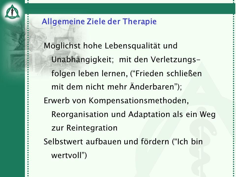 Allgemeine Ziele der Therapie