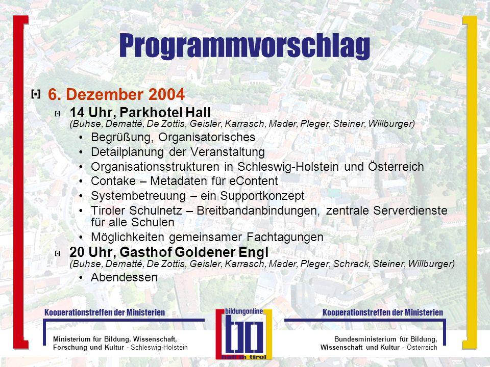 Programmvorschlag 6. Dezember 2004