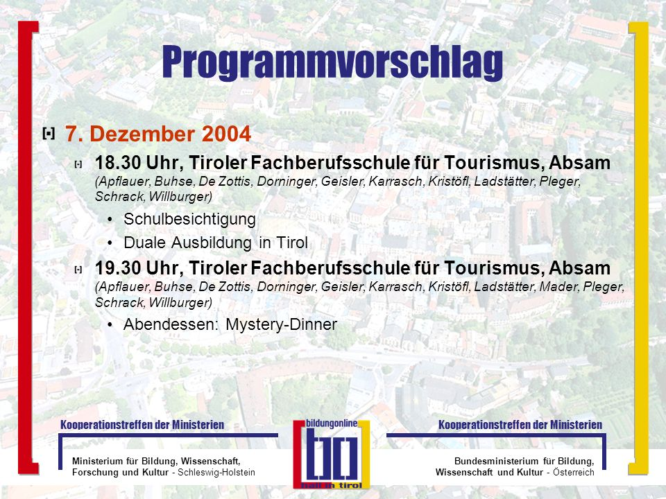 Programmvorschlag 7. Dezember 2004