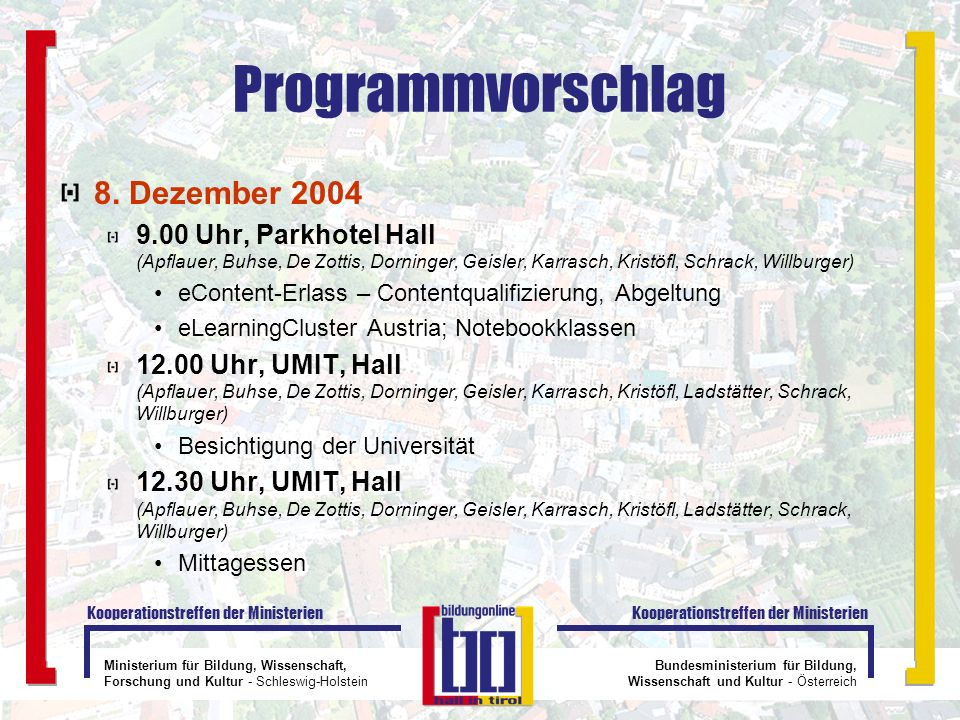 Programmvorschlag 8. Dezember 2004