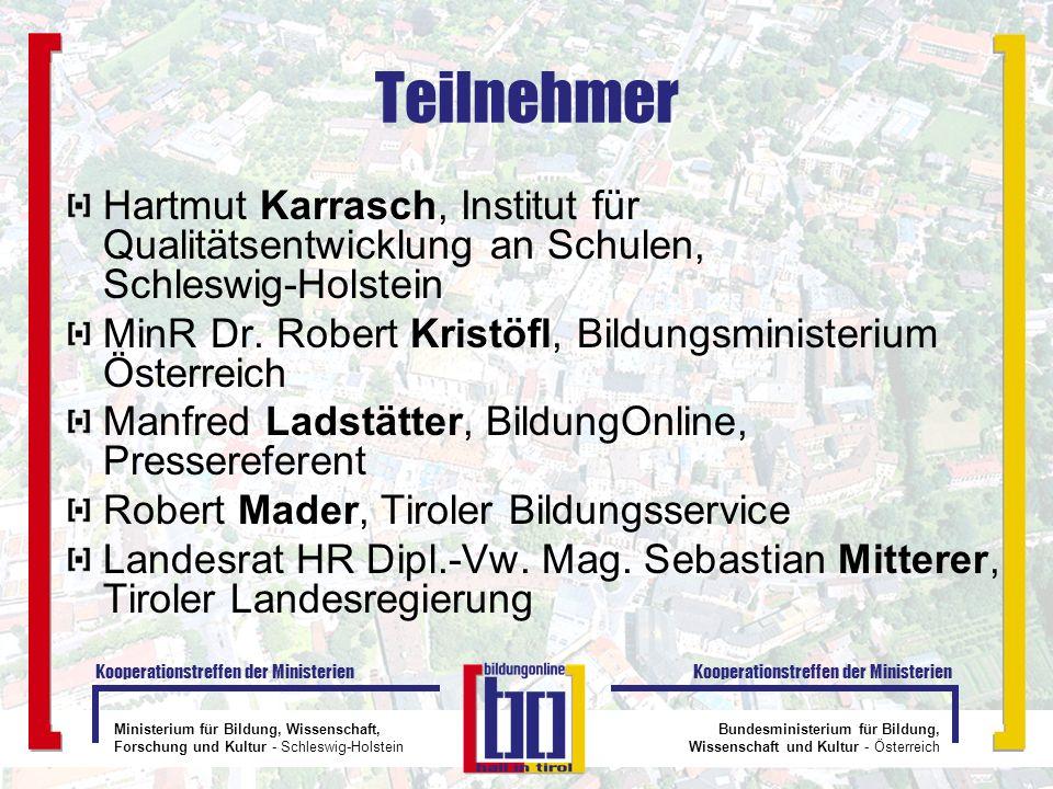 Teilnehmer Hartmut Karrasch, Institut für Qualitätsentwicklung an Schulen, Schleswig-Holstein.