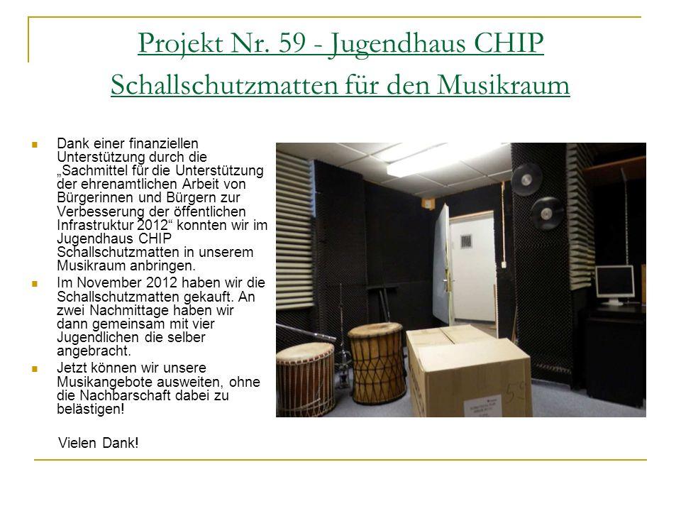 Projekt Nr. 59 - Jugendhaus CHIP Schallschutzmatten für den Musikraum