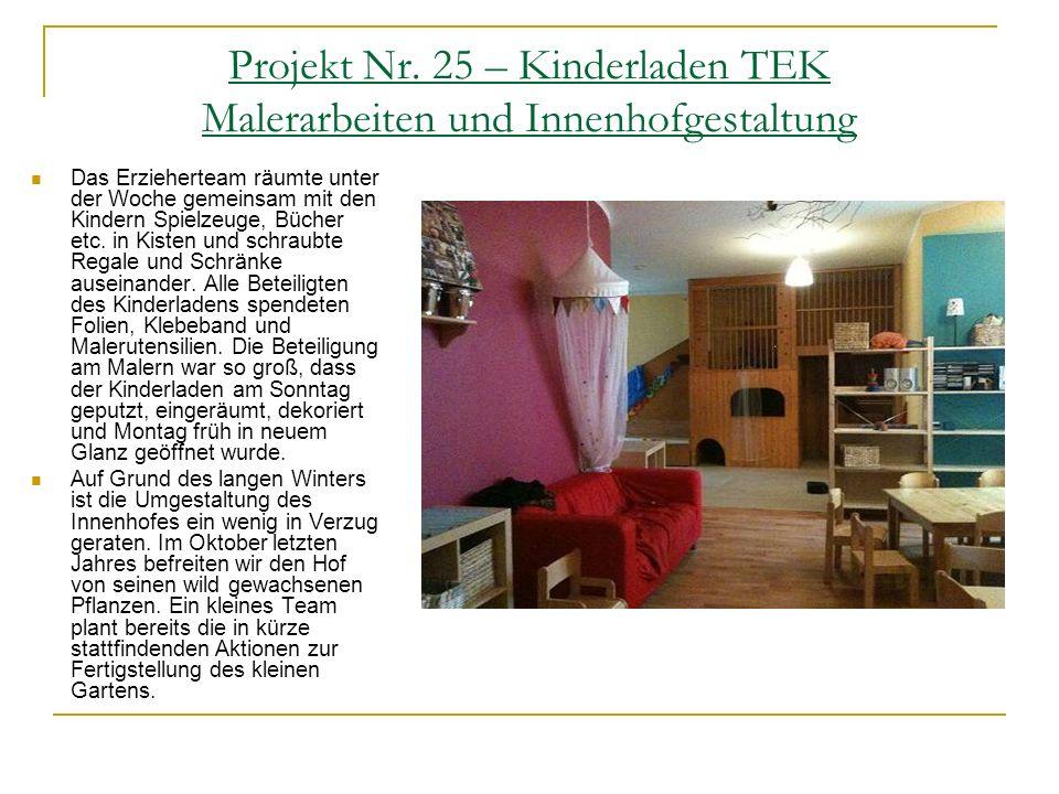 Projekt Nr. 25 – Kinderladen TEK Malerarbeiten und Innenhofgestaltung