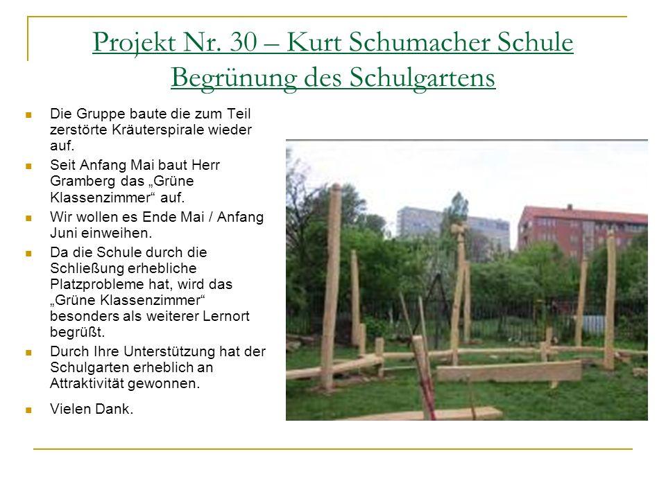 Projekt Nr. 30 – Kurt Schumacher Schule Begrünung des Schulgartens