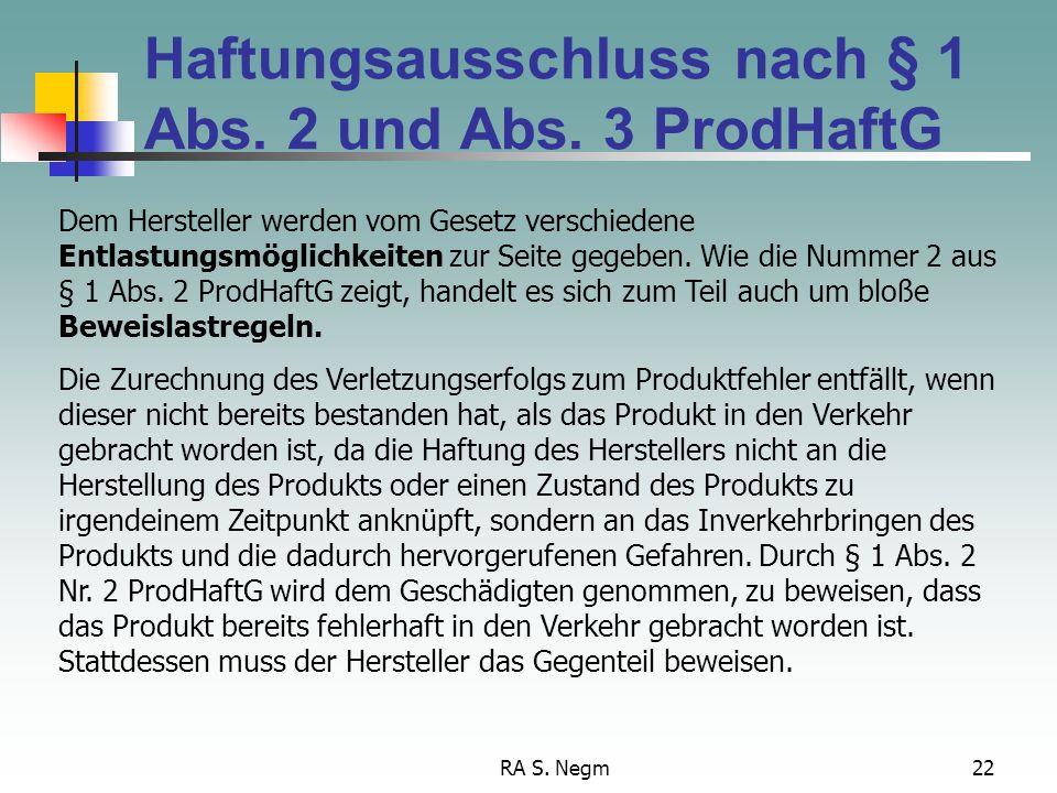Haftungsausschluss nach § 1 Abs. 2 und Abs. 3 ProdHaftG