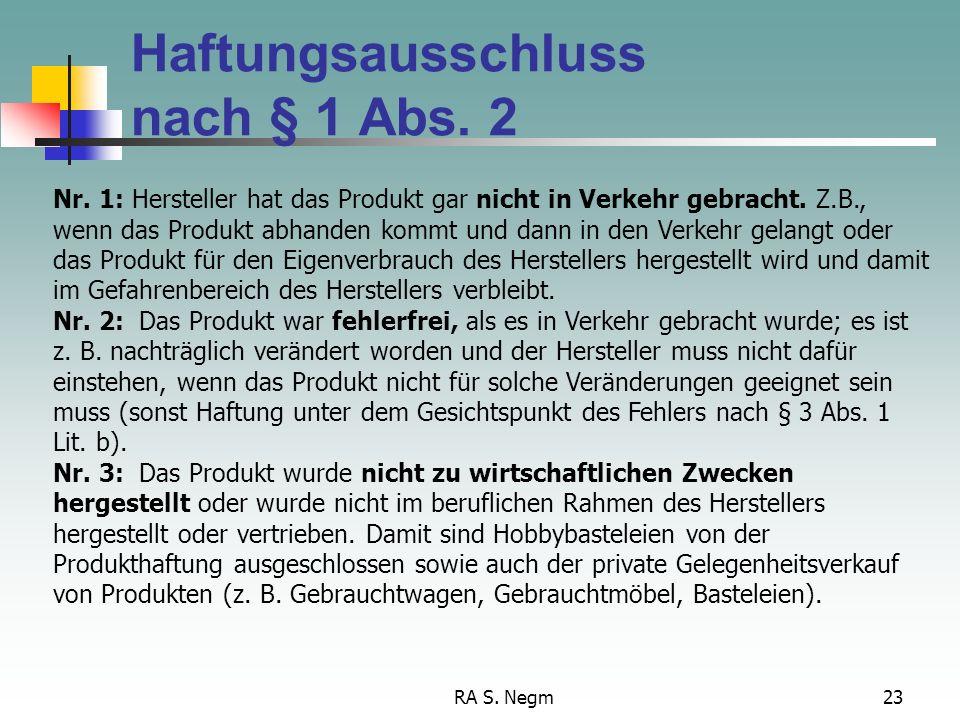 Haftungsausschluss nach § 1 Abs. 2