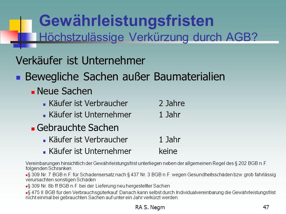 Gewährleistungsfristen Höchstzulässige Verkürzung durch AGB