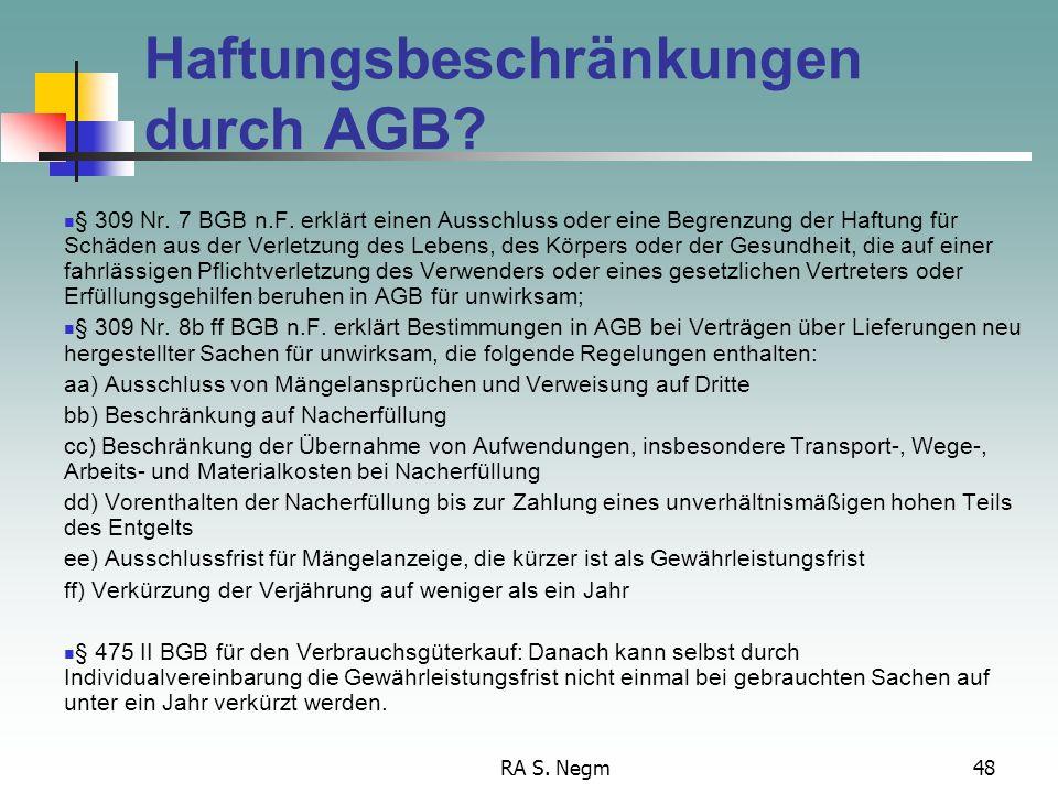 Haftungsbeschränkungen durch AGB