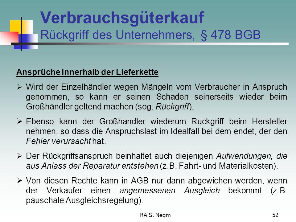 Verbrauchsgüterkauf Rückgriff des Unternehmers, § 478 BGB