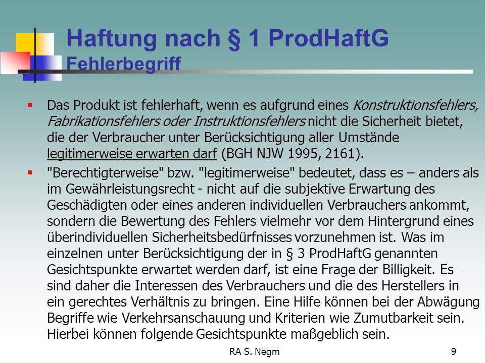 Haftung nach § 1 ProdHaftG Fehlerbegriff